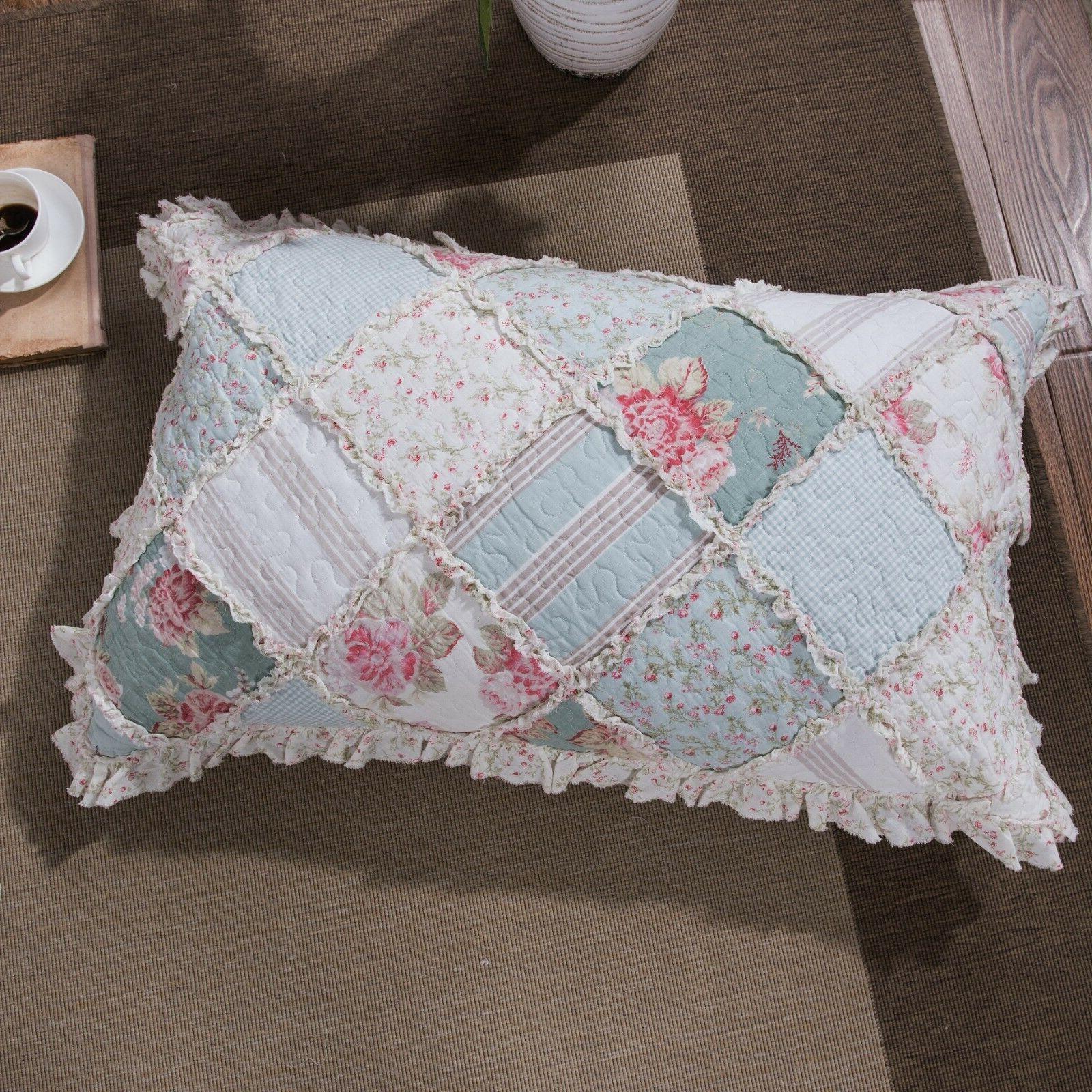 DaDa Bedding Floral Pastel Cotton Patchwork Ruffle