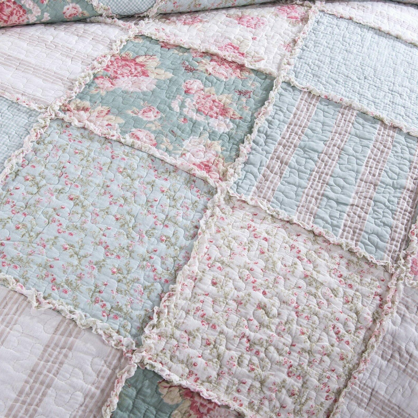 DaDa Mint Floral Pastel Pink Ruffle Bedspread Quilt Set