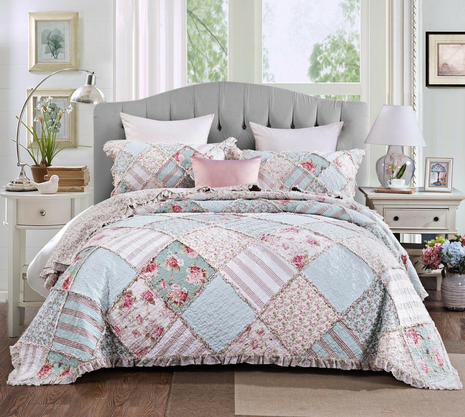 DaDa Mint Pastel Pink Ruffle Bedspread Set
