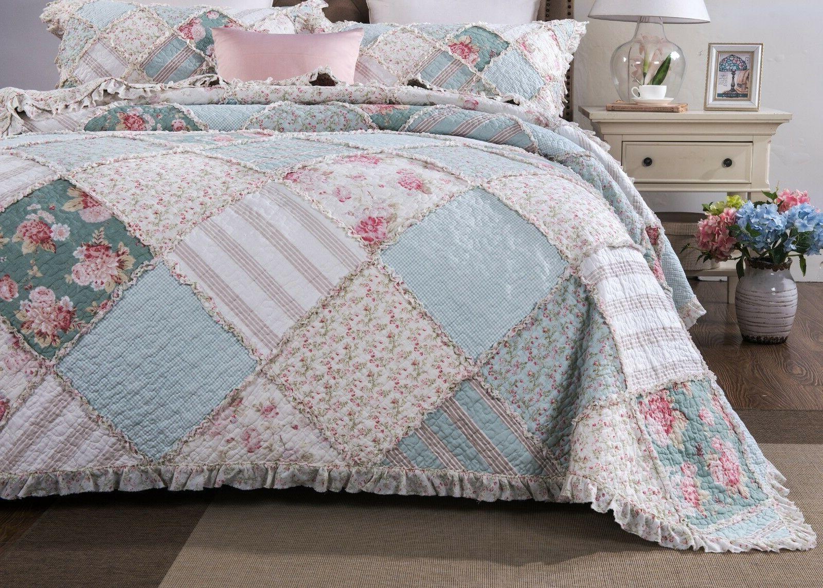 mint floral pastel pink cotton patchwork ruffle