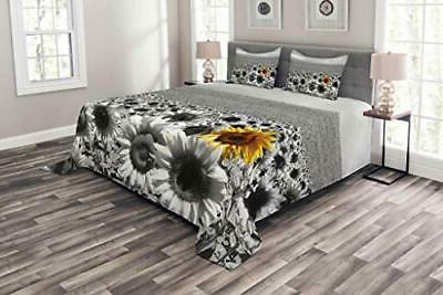 modern bedspread sunflower field black and white