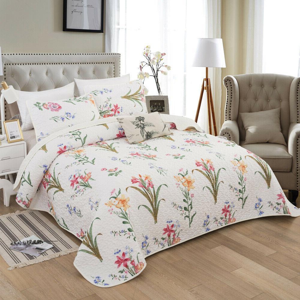 3-Piece Quilt Set Bedspread Spring Floral Coverlet Reversibl