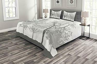 nature bedspread silhouette of trees forest freshness