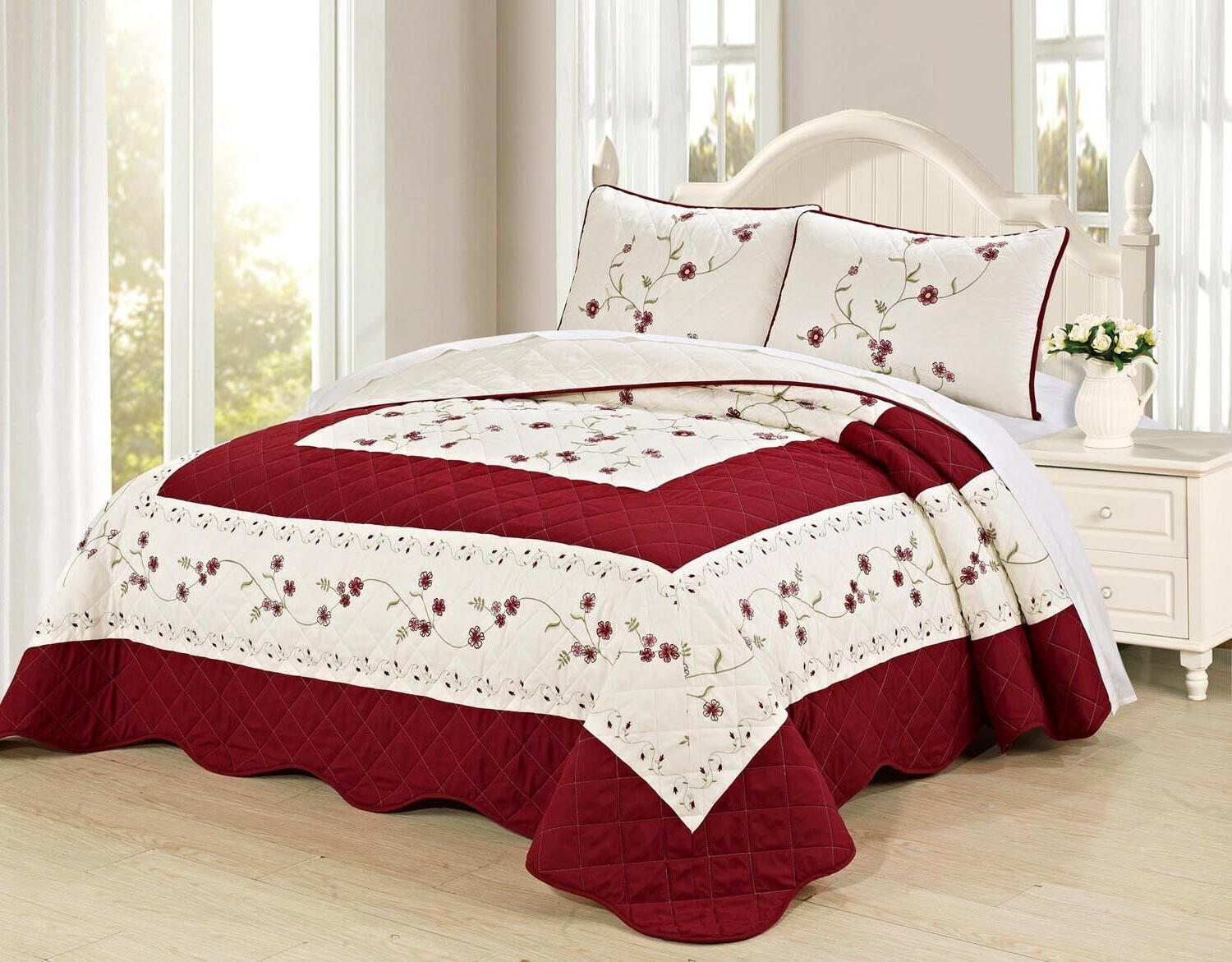 new 3pc embroided floral bedspread quilt set