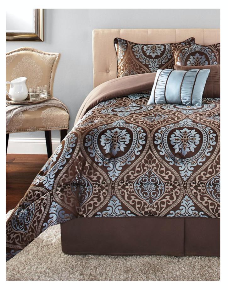 New 7 Piece Bedding Bedspread Shams Bed