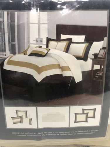 New In Chic Home Duke Piece Gold Block Bedding Size