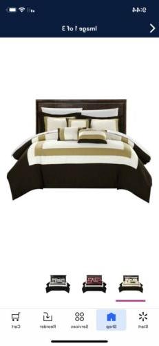 New In the Bag Chic Home Duke 10 Piece Gold Brown Color Bloc
