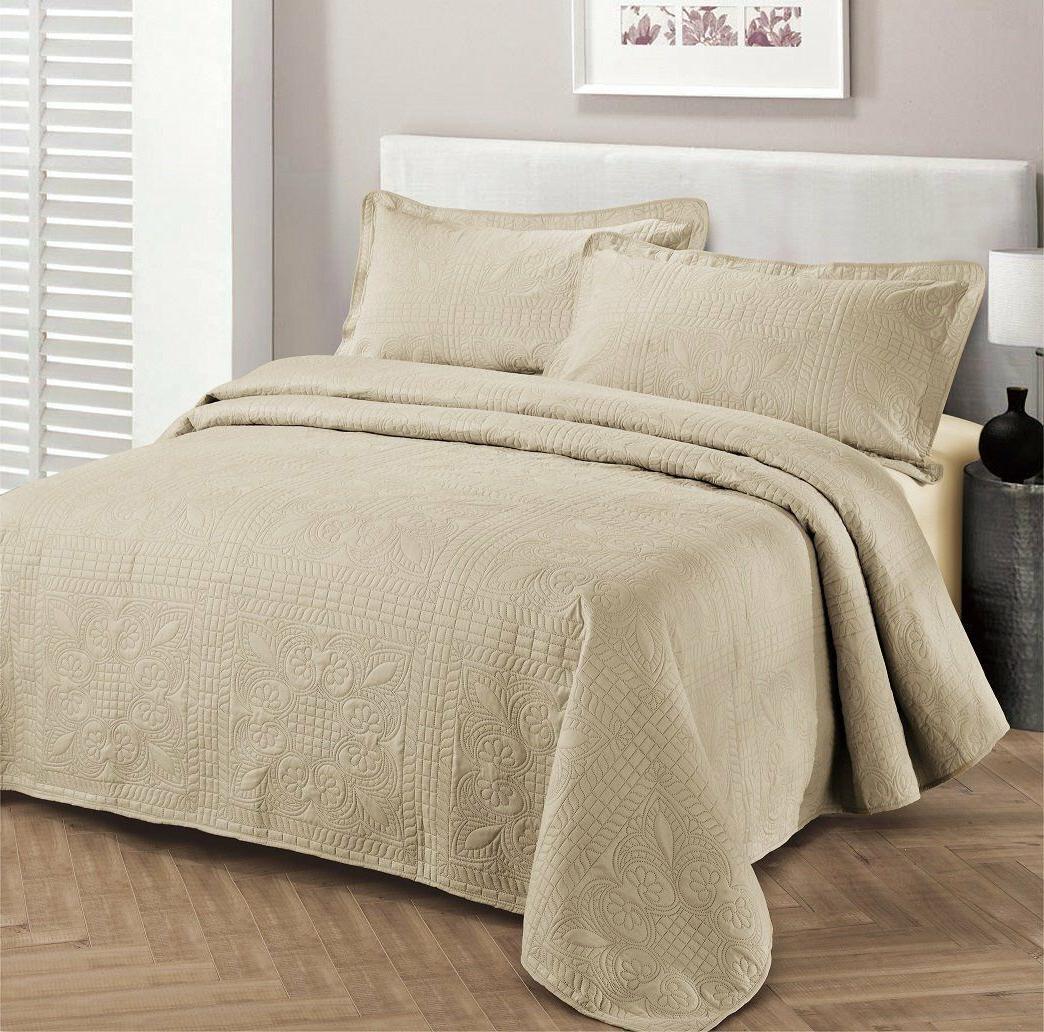 Fancy Linen Oversize Luxury Embossed Bedspread Solid Beige A