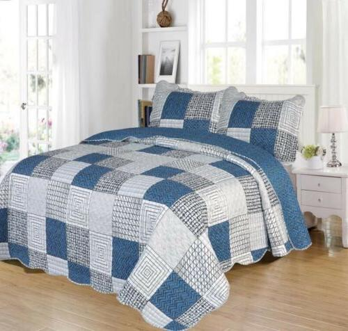 patchwork printed reversible bedspread quilted set 3