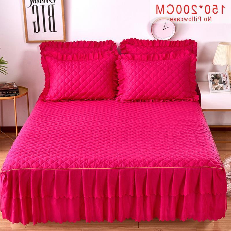 Pink Purple Grey Cotton Single <font><b>Skirt</b></font> Twin Full <font><b>Bed</b></font> <font><b>Skirts</b></font>