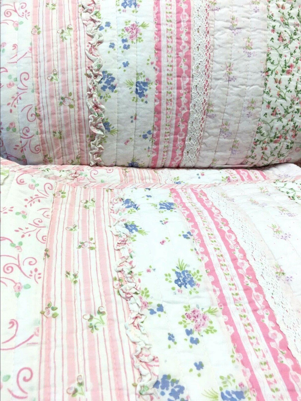 Pink Romantic Lace Quilt Set, Bedspread, Coverlet
