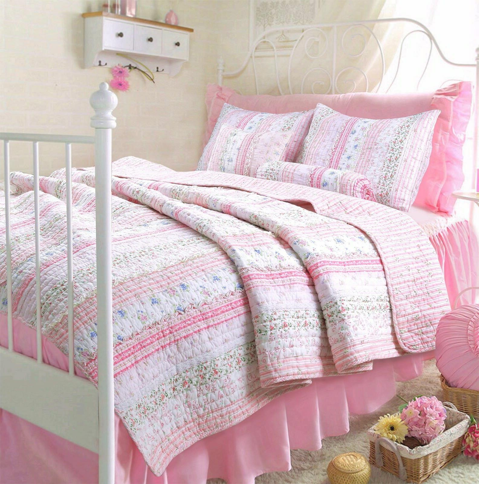 Pink Embroidered Lace 100% Cotton Set, Coverlet