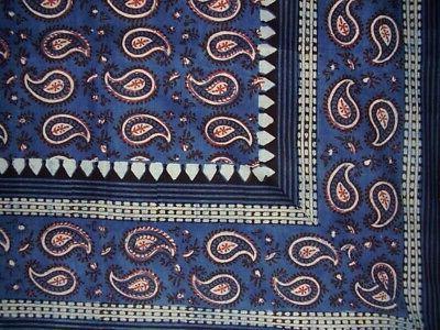 primitive paisley block print tapestry cotton bedspread