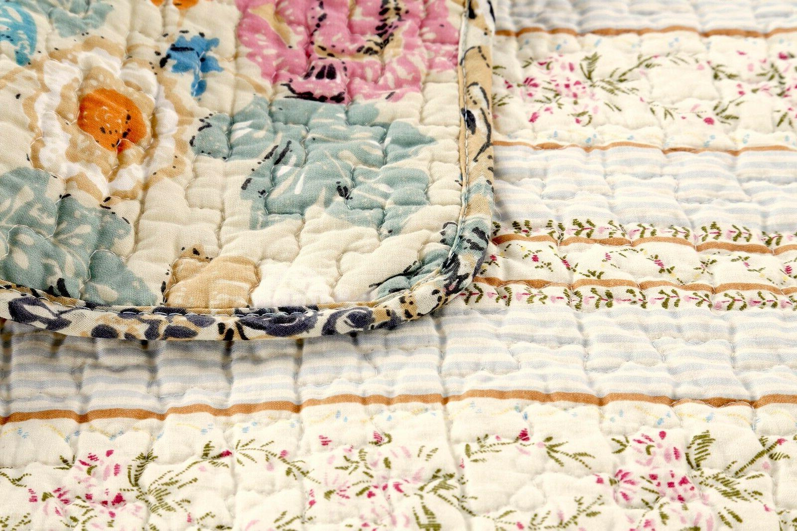 100%Cotton 3-Piece Quilt Bedspread,
