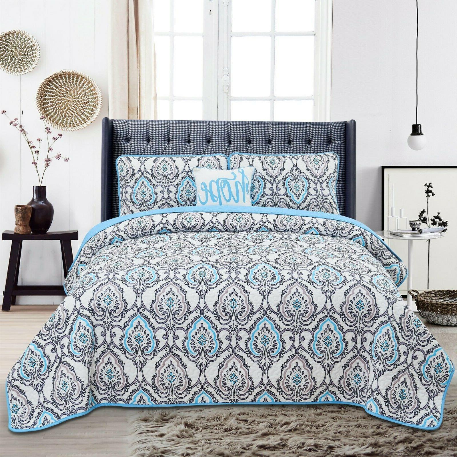 queen quilt bedding set printed pattern 4