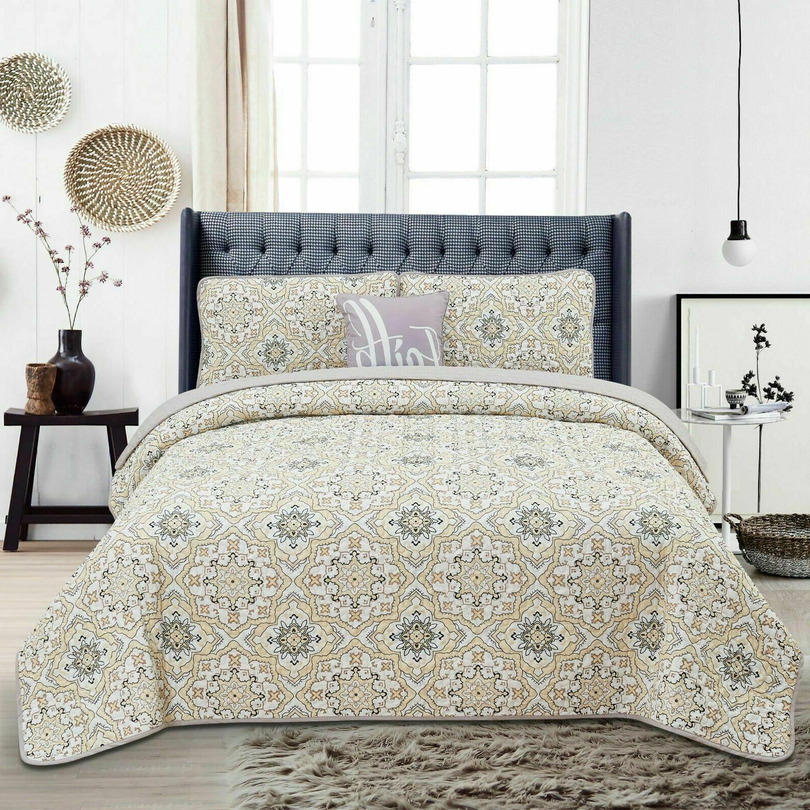Queen Quilt Bedding Printed Quilt Set King Bedding Set