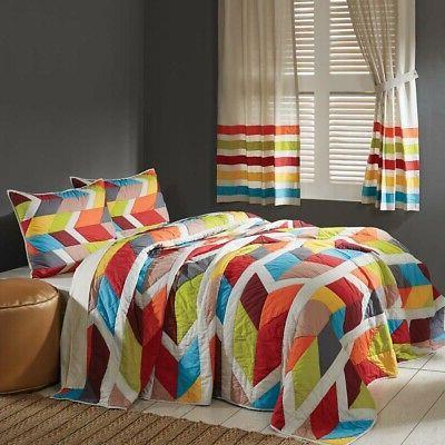 queen quilt set reversible patchwork bedspread tropical