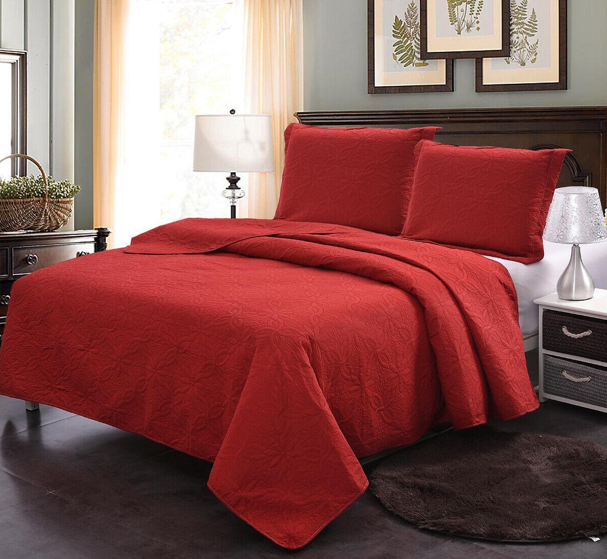 3-Piece Bedspread Set Quilt Queen/King