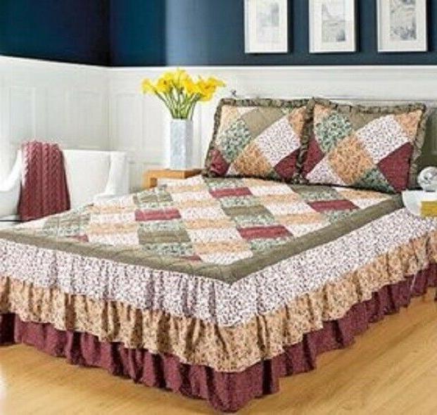 Quilted Floral Print Bedspread Oakridge Triple Ruffle Bedspr