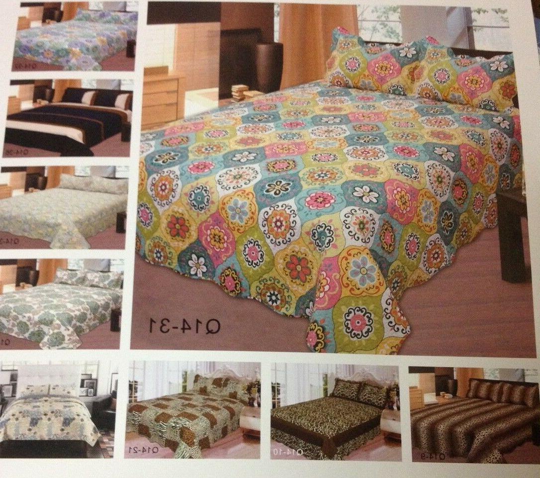 Reversible Quilt Bedspread set w/Pillow Sham Full/Queen, Kin