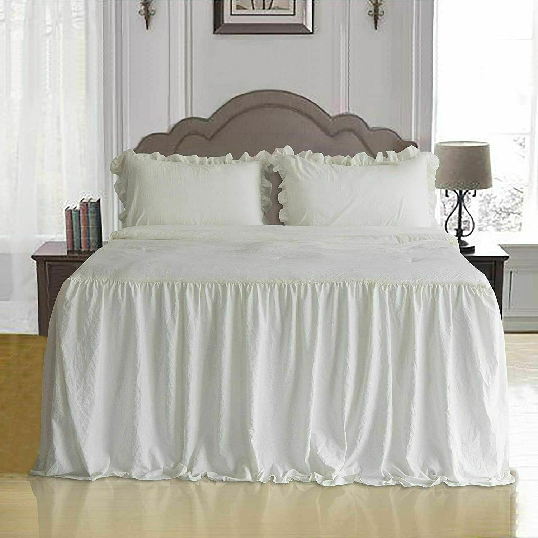 ruffle skirt bedspread set shabby chic farmhouse