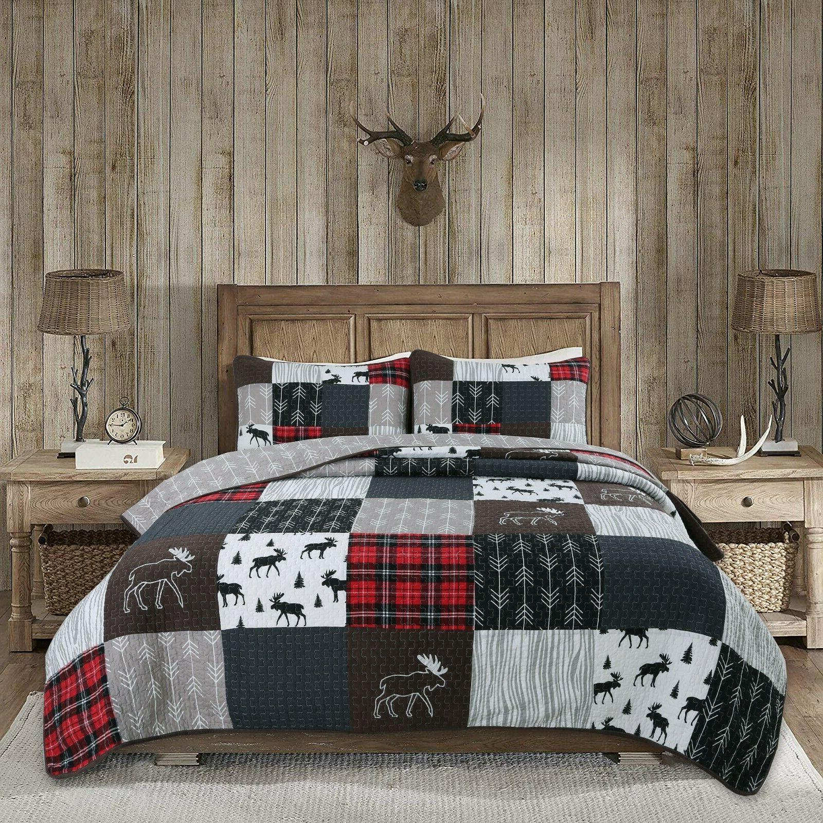 rustic lodge moose cabin real patchwork reversible