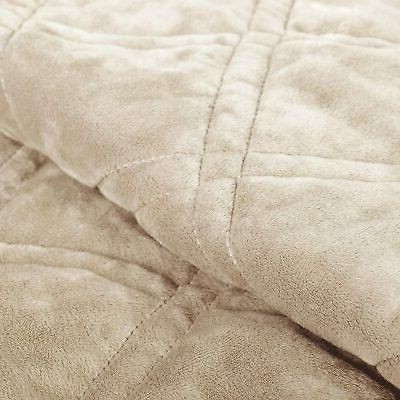 Serenta Super Soft Quilted Piece Bedspread Set, Taupe