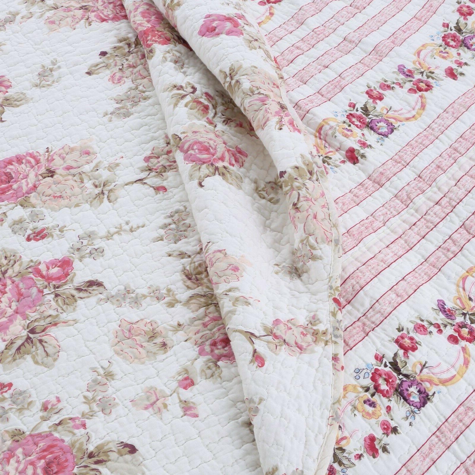Spring 100%Cotton 3-Piece Quilt Set, Bedspread, Coverlet