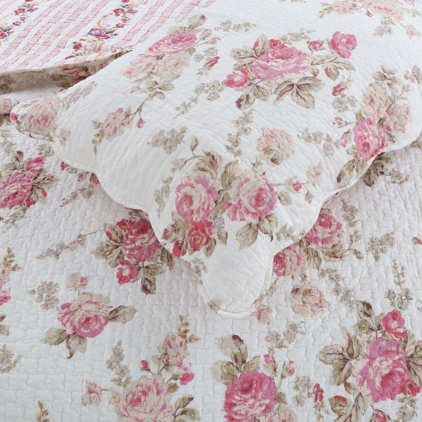 Spring Rose 100%Cotton 3-Piece Quilt Bedspread, Coverlet