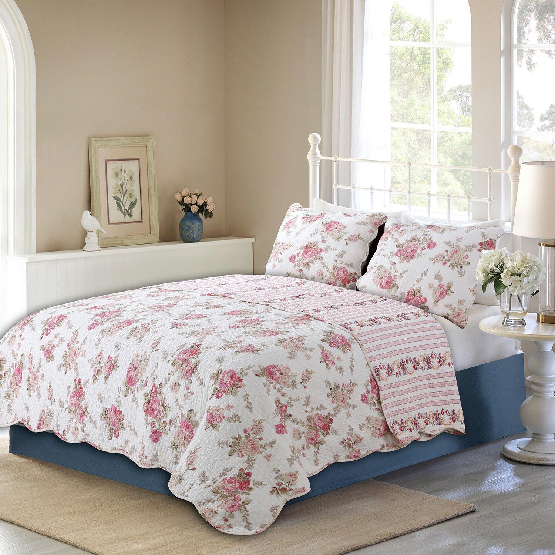 spring rose floral reversible 100 percent cotton