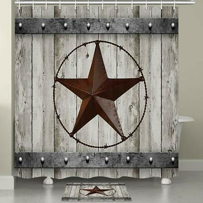 texas shower curtain and mat rustic wood