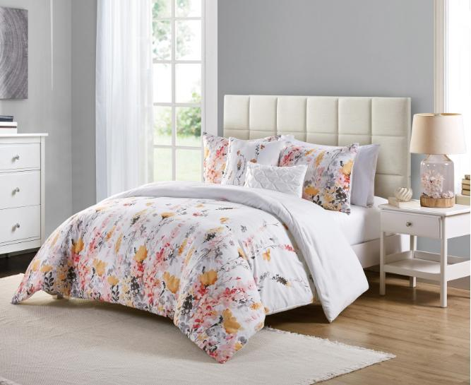 Twin Full Queen or King Comforter Set Floral Print White Bed