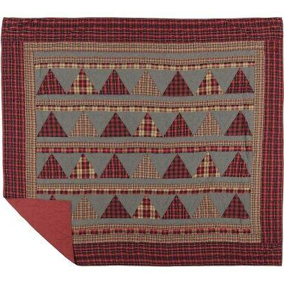 VHC Queen Quilt Cotton Coverlet Red Check