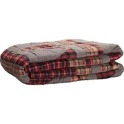 VHC Farmhouse Queen Quilt Bedspread Red Check