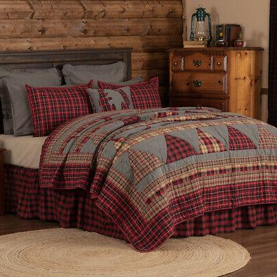 VHC Farmhouse Quilt Cotton Bedspread Coverlet Red Check Bedding