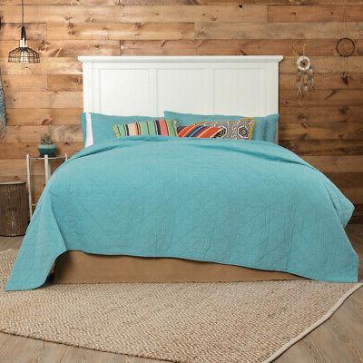 VHC King Queen Bedspread Blanket Turquoise or Orange