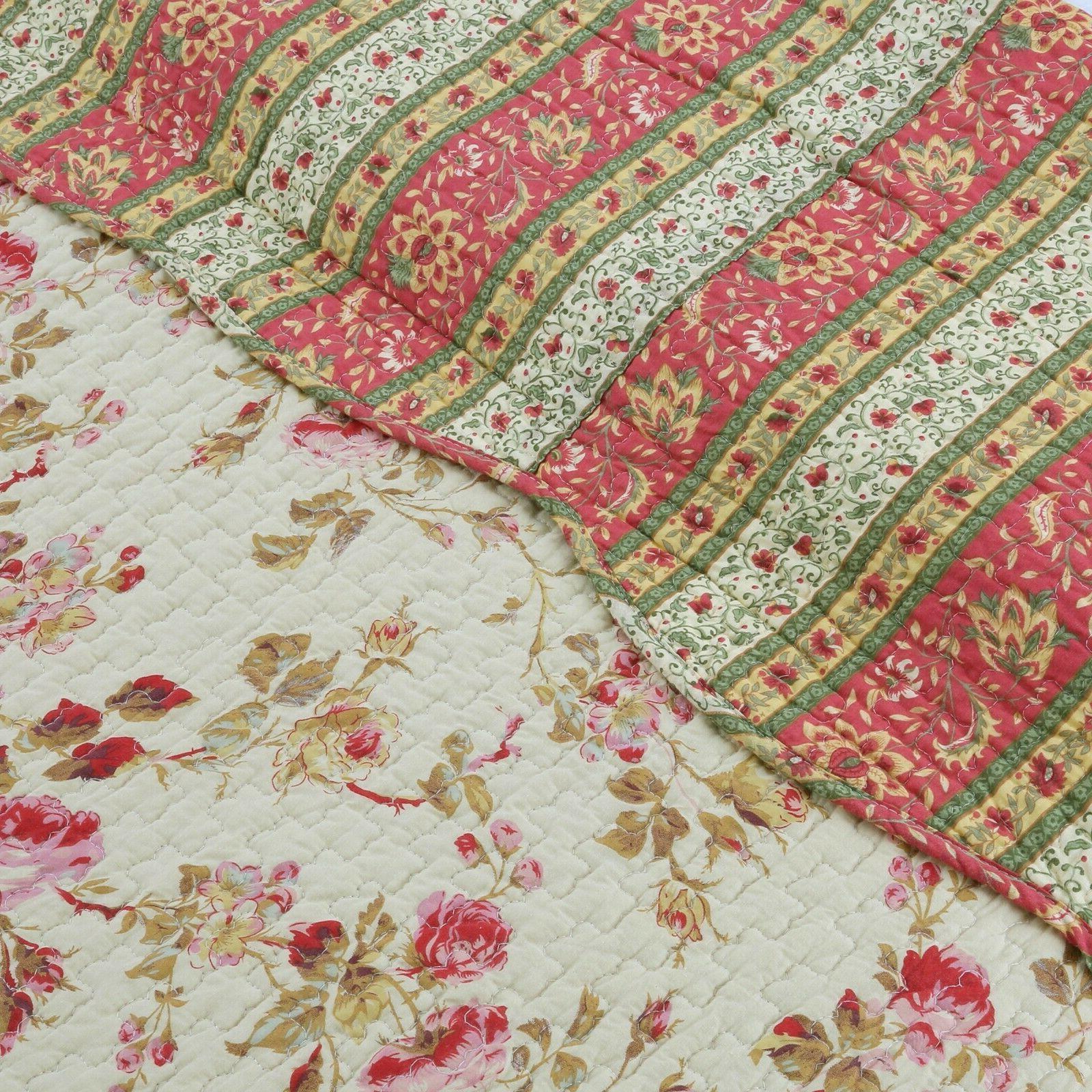 Vintage Rose Floral 3-Piece Quilt Set, Bedspread, Coverlet
