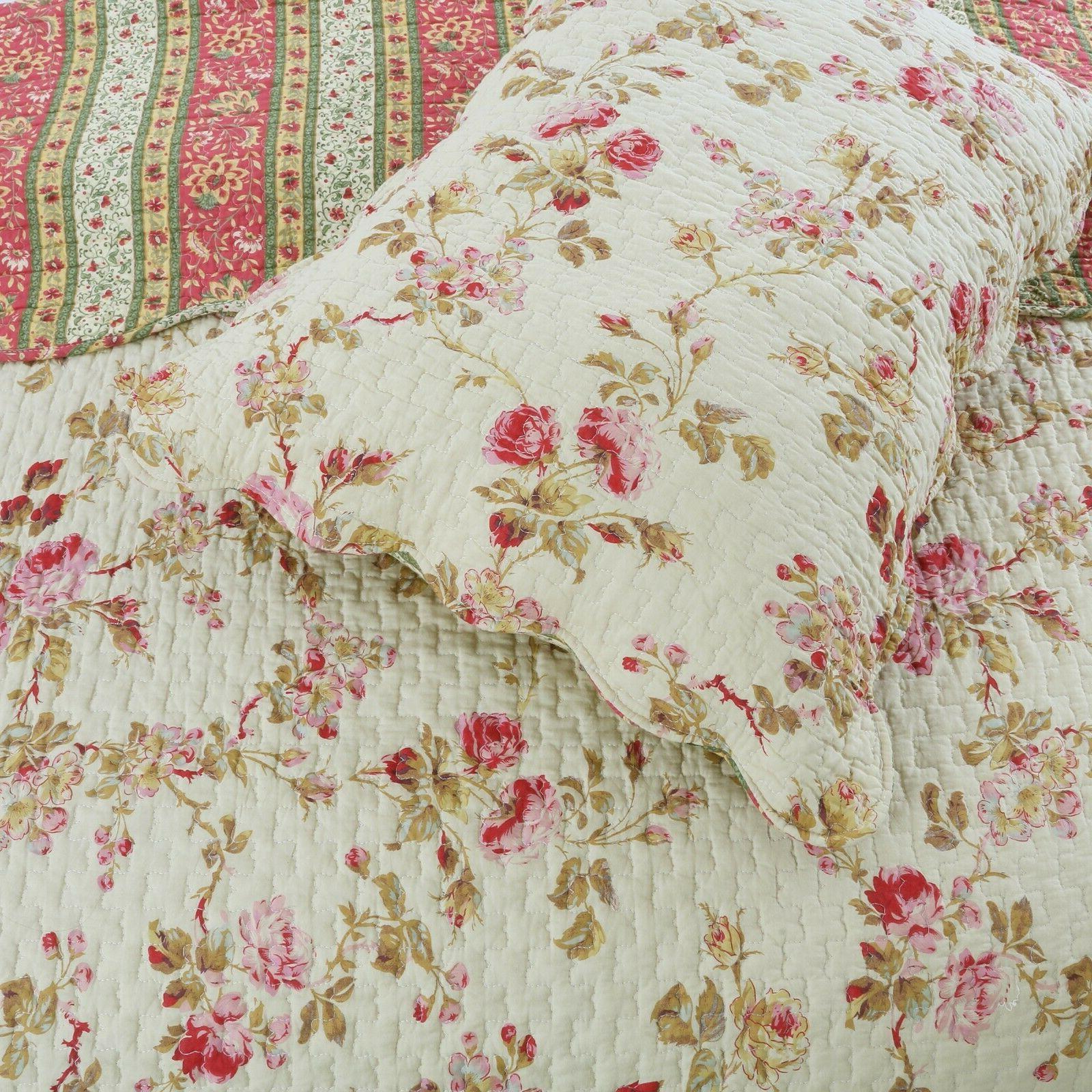 Vintage 3-Piece Reversible Quilt Bedspread, Coverlet