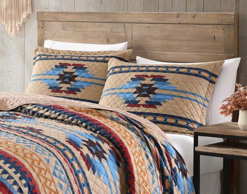 Wyoming 3-Piece Geometric Tribal Printed Bedspread Quilt Set