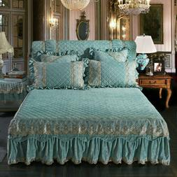 Lace Quilted Velvet Embossing Bed Skirts Queen King Full Bed