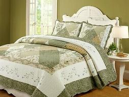 Laura Green Real  Patchwork Reversible 100%Cotton Quilt Set,