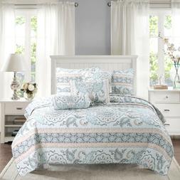 Leaf Geometric Printed 3-Piece Reversible Bedding Quilt Set,