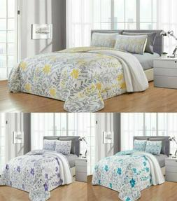 Leah 6PC Printed Blooming Flowers Bedspread, Oversize Coverl