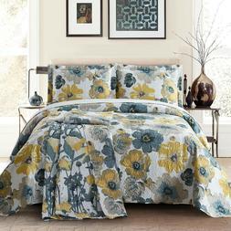 Leahanna Reversible Bedspread Coverlet Quilt Set Bedding Cov