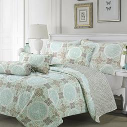 Light Green Damask 3-Piece Reversible Quilt Set, Bedspread,