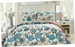 Linen Plus Quilted Bedspread Set Oversized Coverlet Floral B