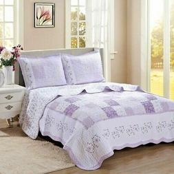 Love of Lilac Real Patchwork 100%Cotton Quilt Set, Bedspread