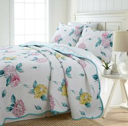 Lowe Floral Reversible 100%Cotton 3-Piece Quilt Set, Bedspre