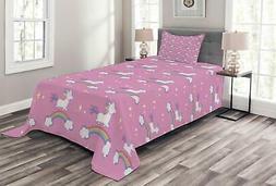 Lunarable Unicorn Bedspread, Children Friendly Fun Cartoon C