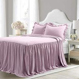 Lush Decor Purple Ruffle Skirt Bedspread French Farmhouse Fu